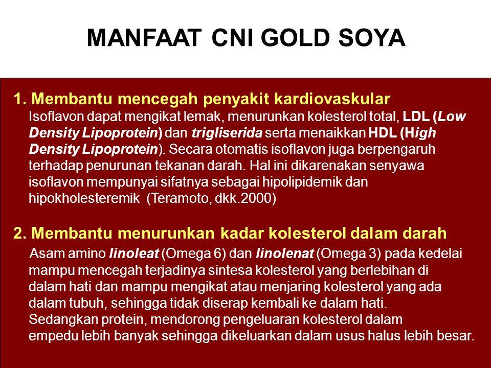 MANFAAT CNI GOLD SOYA 1. Membantu mencegah penyakit kardiovaskular Isoflavon dapat mengikat lemak, menurunkan kolesterol total, LDL (Low Density Lipop