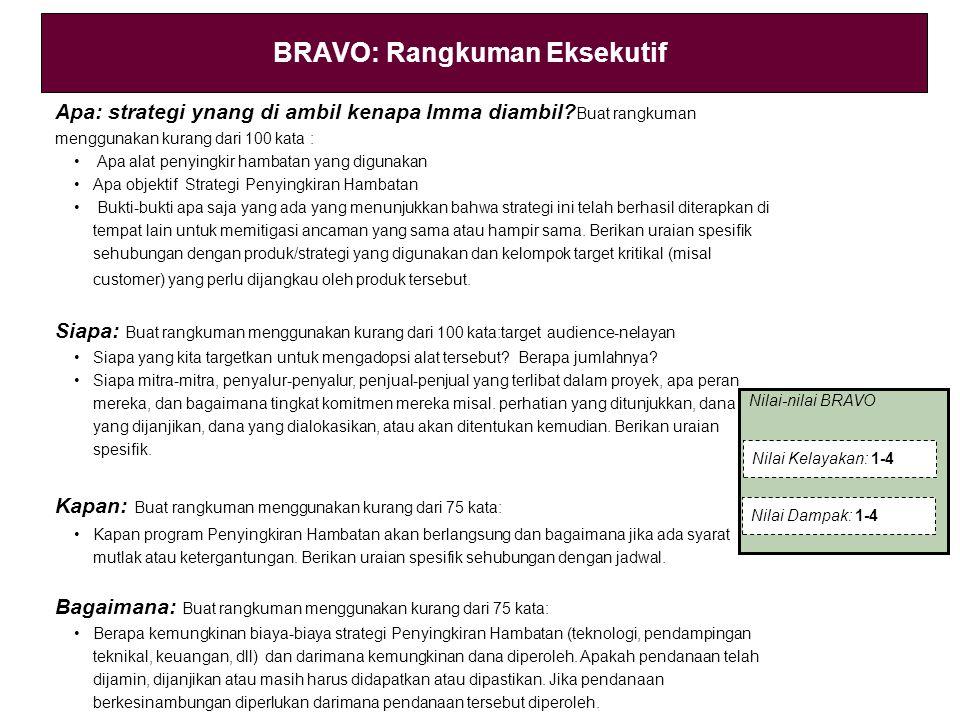 BRAVO: Rangkuman Eksekutif Apa: strategi ynang di ambil kenapa lmma diambil? Buat rangkuman menggunakan kurang dari 100 kata : Apa alat penyingkir ham