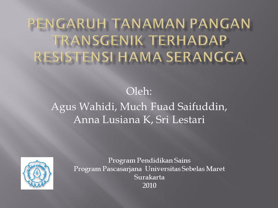 Oleh: Agus Wahidi, Much Fuad Saifuddin, Anna Lusiana K, Sri Lestari Program Pendidikan Sains Program Pascasarjana Universitas Sebelas Maret Surakarta 2010