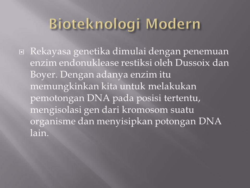  Rekayasa genetika dimulai dengan penemuan enzim endonuklease restiksi oleh Dussoix dan Boyer. Dengan adanya enzim itu memungkinkan kita untuk melaku