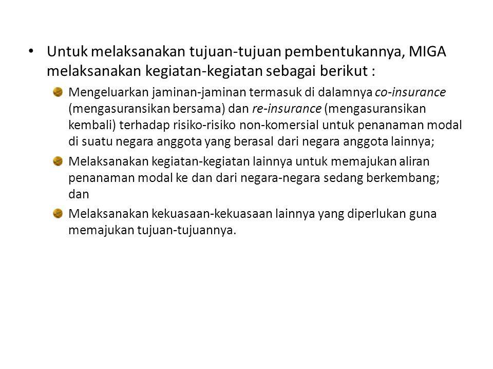 Melalui Keppres nomor 031 tahun 1986 tentang Pengesahan Convention Establishing The Multilateral Investment Guanrantee Agency (MIGA)  Indonesia resmi menjadi anggota MIGA.
