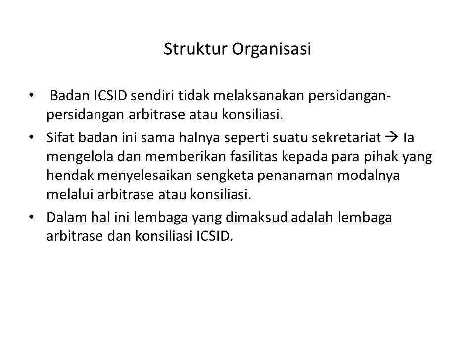Republik Indonesia telah meratifikasi Konvensi ICSID melalui Undang-Undang Nomor 5 Tahun 1968 (Lembaran Negara Nomor 32 Tahun 1968), tentang persetujuan atas Konvensi tentang Penyelesaian Perselisihan antara Negara dengan Warga Negara Asing mengenai Penanaman Modal.