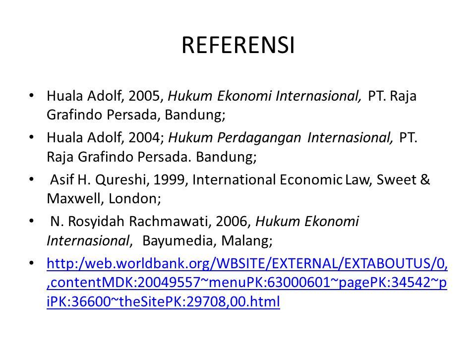 REFERENSI Huala Adolf, 2005.Hukum Ekonomi Internasional.