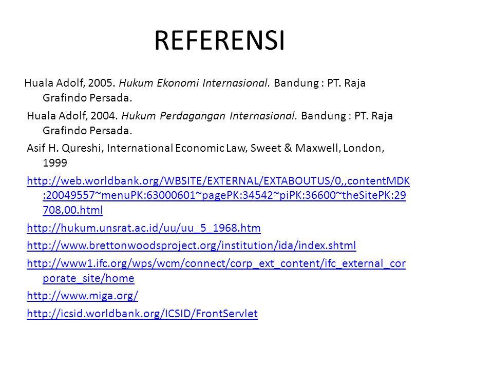 REFERENSI Huala Adolf, 2005. Hukum Ekonomi Internasional. Bandung : PT. Raja Grafindo Persada. Huala Adolf, 2004. Hukum Perdagangan Internasional. Ban