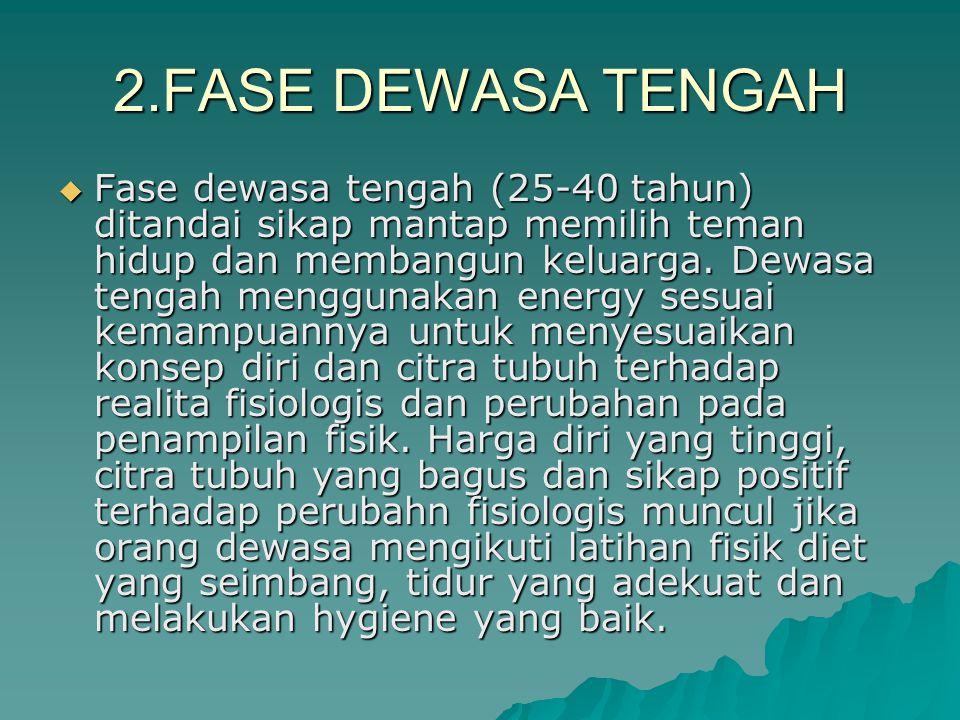 2.FASE DEWASA TENGAH  Fase dewasa tengah (25-40 tahun) ditandai sikap mantap memilih teman hidup dan membangun keluarga.