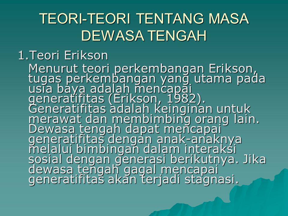TEORI-TEORI TENTANG MASA DEWASA TENGAH 1.Teori Erikson Menurut teori perkembangan Erikson, tugas perkembangan yang utama pada usia baya adalah mencapai generatifitas (Erikson, 1982).
