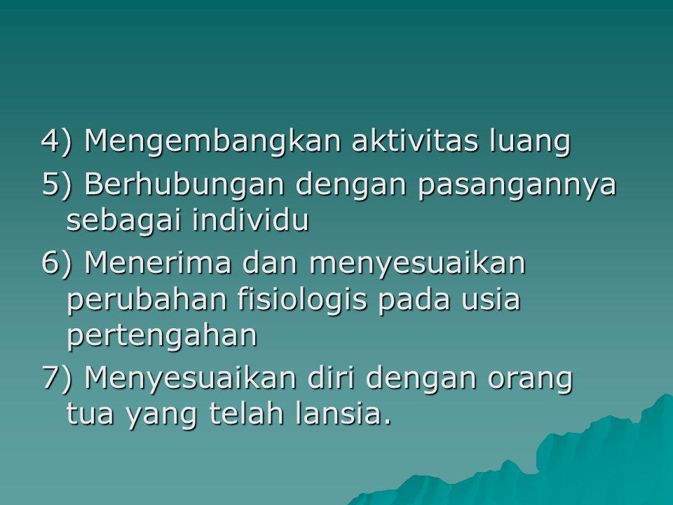 4) Mengembangkan aktivitas luang 5) Berhubungan dengan pasangannya sebagai individu 6) Menerima dan menyesuaikan perubahan fisiologis pada usia pertengahan 7) Menyesuaikan diri dengan orang tua yang telah lansia.
