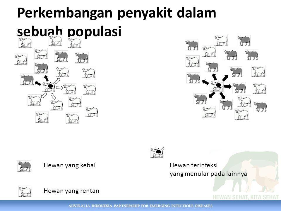 AUSTRALIA INDONESIA PARTNERSHIP FOR EMERGING INFECTIOUS DISEASES Perkembangan penyakit dalam sebuah populasi Hewan yang kebal Hewan yang rentan Hewan