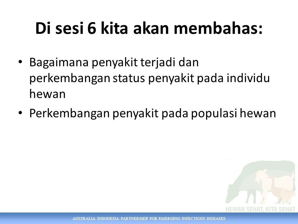 AUSTRALIA INDONESIA PARTNERSHIP FOR EMERGING INFECTIOUS DISEASES Di sesi 6 kita akan membahas: Bagaimana penyakit terjadi dan perkembangan status peny