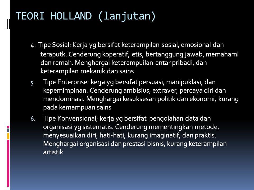 TEORI HOLLAND  Teori kepribadian vokasional dan lingkungan kerja  6 tipologi kepribadian dan lingkungan kerja: 1. Tipe Realistik: kerja yg bersifat