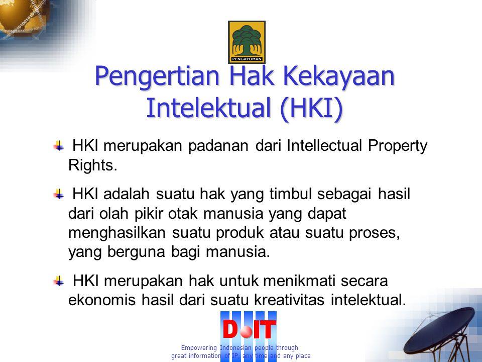 Empowering Indonesian people through great information of IP, any time and any place Pengertian Hak Kekayaan Intelektual (HKI) HKI merupakan padanan dari Intellectual Property Rights.