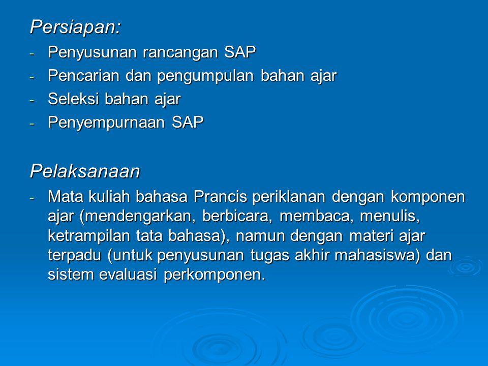 Persiapan: - Penyusunan rancangan SAP - Pencarian dan pengumpulan bahan ajar - Seleksi bahan ajar - Penyempurnaan SAP Pelaksanaan - Mata kuliah bahasa Prancis periklanan dengan komponen ajar (mendengarkan, berbicara, membaca, menulis, ketrampilan tata bahasa), namun dengan materi ajar terpadu (untuk penyusunan tugas akhir mahasiswa) dan sistem evaluasi perkomponen.