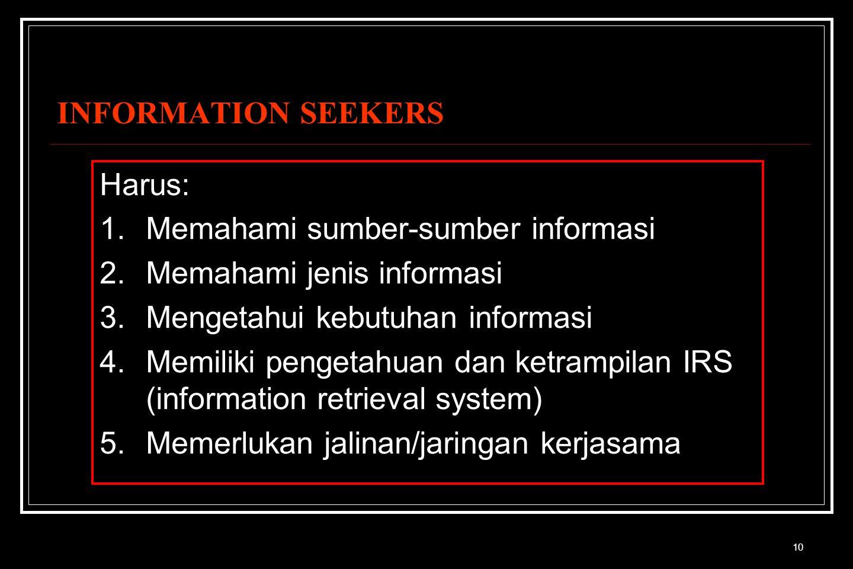 10 INFORMATION SEEKERS Harus: 1.Memahami sumber-sumber informasi 2.Memahami jenis informasi 3.Mengetahui kebutuhan informasi 4.Memiliki pengetahuan dan ketrampilan IRS (information retrieval system) 5.Memerlukan jalinan/jaringan kerjasama
