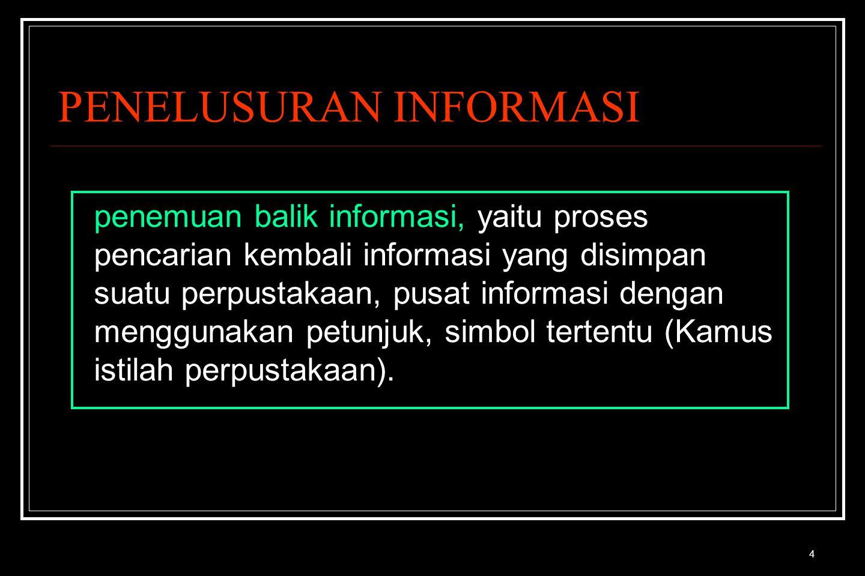 4 PENELUSURAN INFORMASI penemuan balik informasi, yaitu proses pencarian kembali informasi yang disimpan suatu perpustakaan, pusat informasi dengan menggunakan petunjuk, simbol tertentu (Kamus istilah perpustakaan).