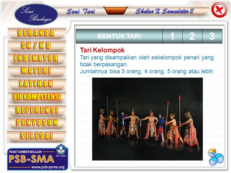 Seni Budaya Tari Kelompok Tari yang disampaikan oleh sekelompok penari yang tidak berpasangan. Jumlahnya bisa 3 orang, 4 orang, 5 orang atau lebih BEN