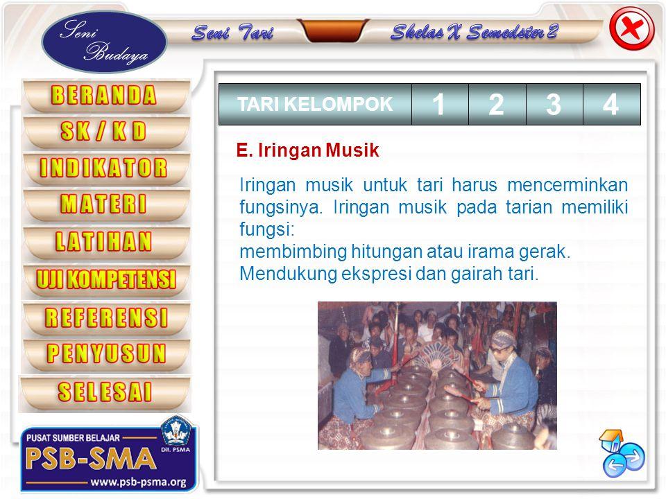 Seni Budaya E. Iringan Musik Iringan musik untuk tari harus mencerminkan fungsinya. Iringan musik pada tarian memiliki fungsi: membimbing hitungan ata