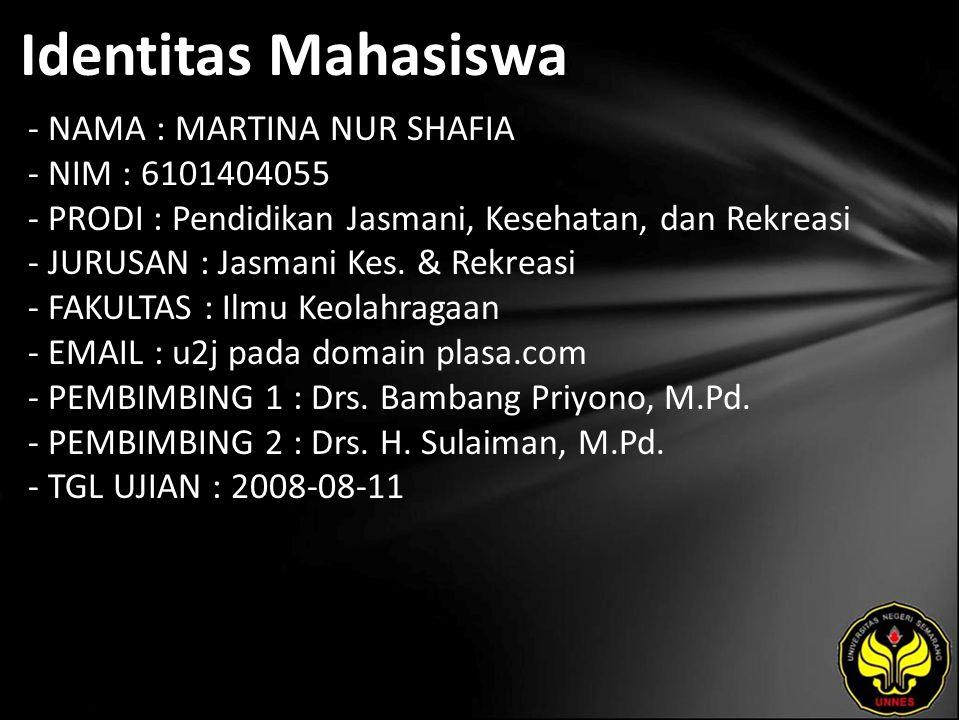Identitas Mahasiswa - NAMA : MARTINA NUR SHAFIA - NIM : 6101404055 - PRODI : Pendidikan Jasmani, Kesehatan, dan Rekreasi - JURUSAN : Jasmani Kes.