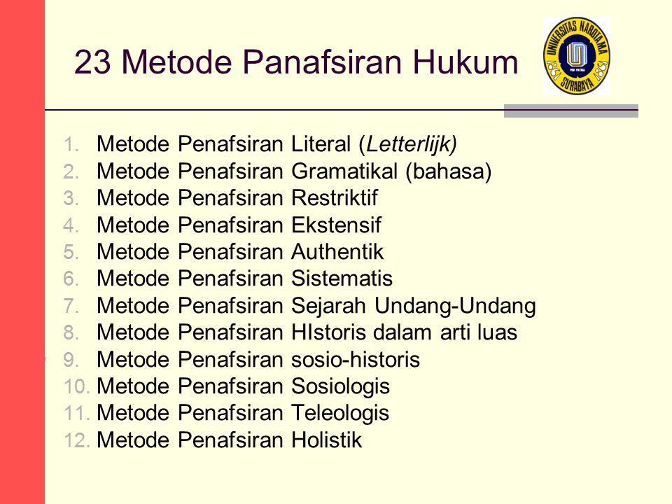 23 Metode Panafsiran Hukum 1. Metode Penafsiran Literal (Letterlijk) 2. Metode Penafsiran Gramatikal (bahasa) 3. Metode Penafsiran Restriktif 4. Metod