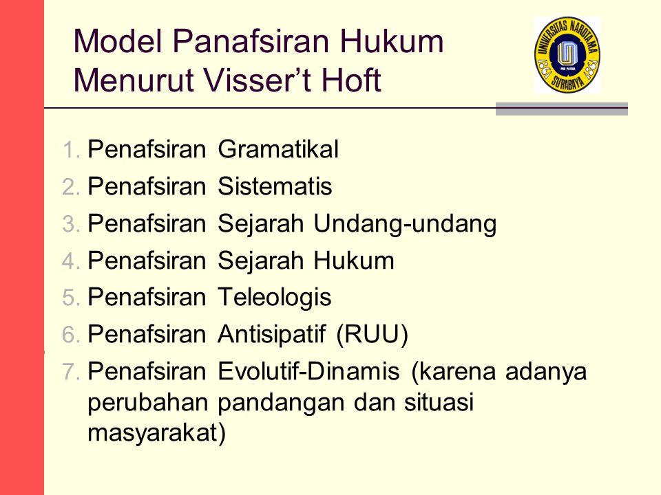 Model Panafsiran Hukum Menurut Visser't Hoft 1. Penafsiran Gramatikal 2. Penafsiran Sistematis 3. Penafsiran Sejarah Undang-undang 4. Penafsiran Sejar
