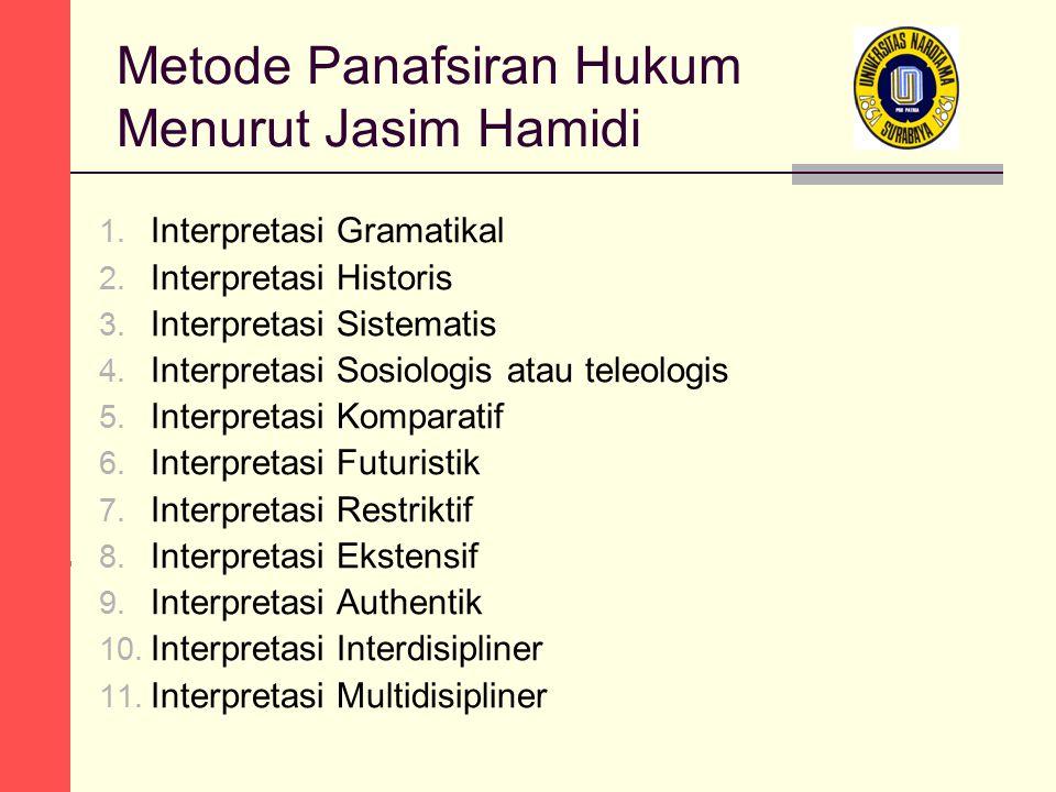 Metode Panafsiran Hukum Menurut Jasim Hamidi 1. Interpretasi Gramatikal 2. Interpretasi Historis 3. Interpretasi Sistematis 4. Interpretasi Sosiologis