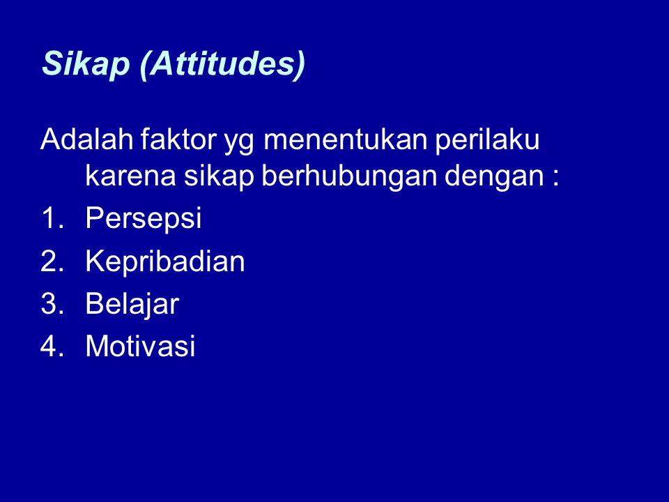 Sikap (Attitudes) Adalah faktor yg menentukan perilaku karena sikap berhubungan dengan : 1.Persepsi 2.Kepribadian 3.Belajar 4.Motivasi