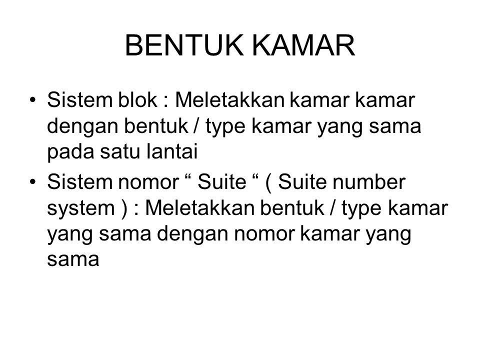 """BENTUK KAMAR Sistem blok : Meletakkan kamar kamar dengan bentuk / type kamar yang sama pada satu lantai Sistem nomor """" Suite """" ( Suite number system )"""