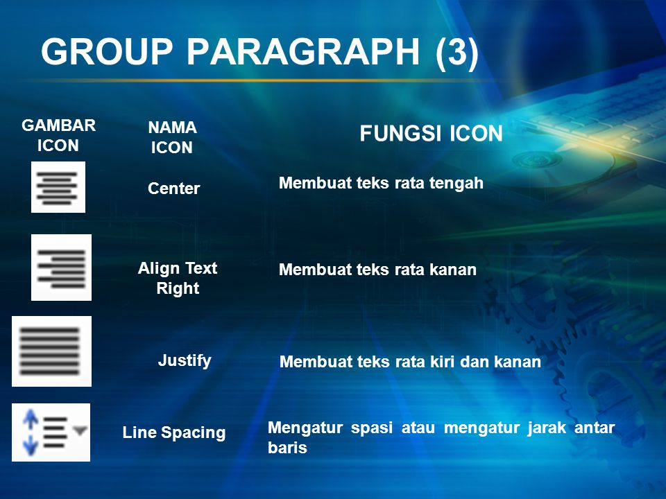 GROUP PARAGRAPH (2) GAMBAR ICON NAMA ICON FUNGSI ICON Increase Indent Sort Show/Hide Align Text Left Memberikan indent ke kanan Mengurutkan text atau
