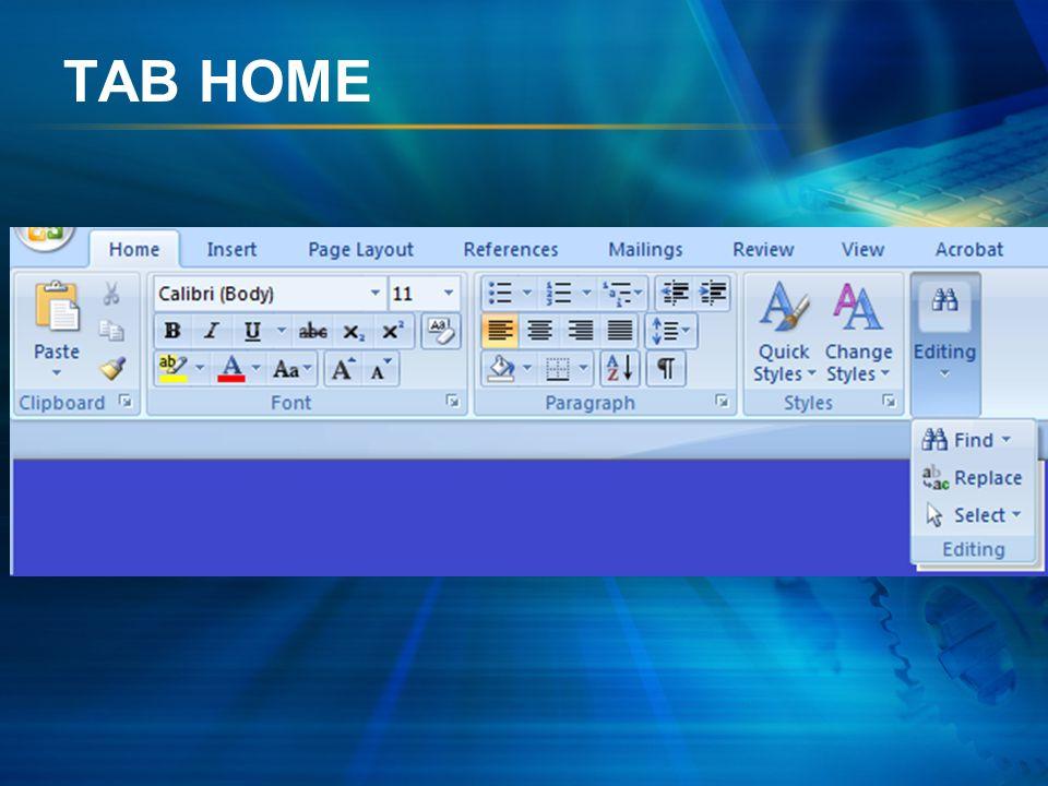 GROUP EDITING GAMBAR ICON NAMA ICON FUNGSI ICON Mencari teks pada dokumen Mengganti teks pada dokumen Memilih teks atau objek pada dokumen