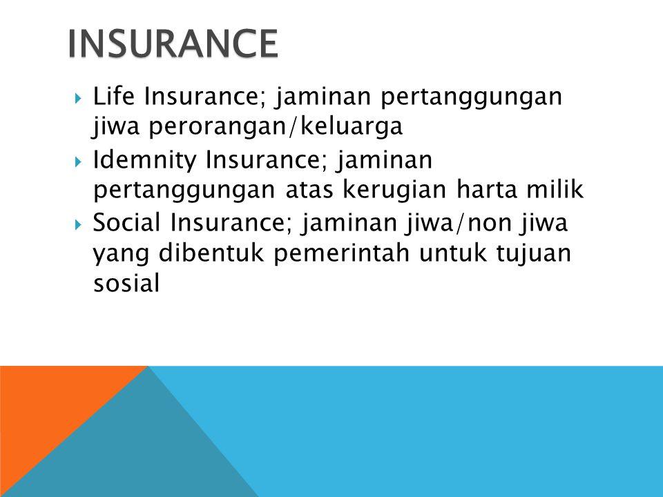 INSURANCE  Life Insurance; jaminan pertanggungan jiwa perorangan/keluarga  Idemnity Insurance; jaminan pertanggungan atas kerugian harta milik  Social Insurance; jaminan jiwa/non jiwa yang dibentuk pemerintah untuk tujuan sosial