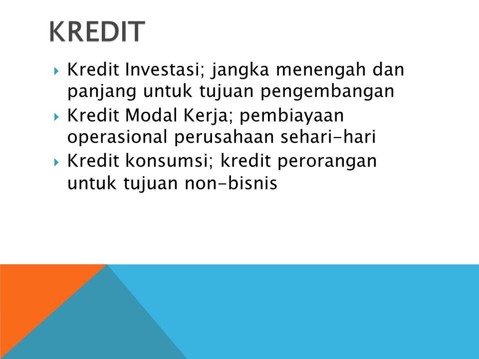 KREDIT  Kredit Investasi; jangka menengah dan panjang untuk tujuan pengembangan  Kredit Modal Kerja; pembiayaan operasional perusahaan sehari-hari  Kredit konsumsi; kredit perorangan untuk tujuan non-bisnis