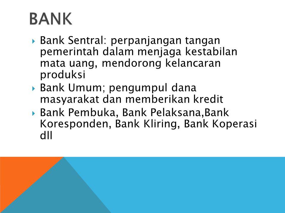 BANK  Bank Sentral: perpanjangan tangan pemerintah dalam menjaga kestabilan mata uang, mendorong kelancaran produksi  Bank Umum; pengumpul dana masyarakat dan memberikan kredit  Bank Pembuka, Bank Pelaksana,Bank Koresponden, Bank Kliring, Bank Koperasi dll