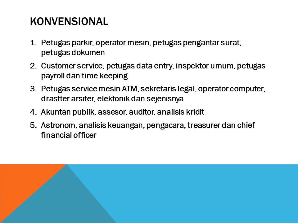 KONVENSIONAL 1.Petugas parkir, operator mesin, petugas pengantar surat, petugas dokumen 2.Customer service, petugas data entry, inspektor umum, petuga
