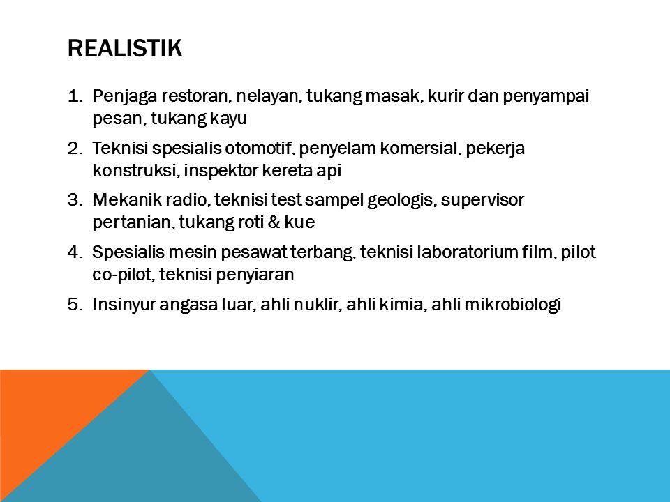 REALISTIK 1.Penjaga restoran, nelayan, tukang masak, kurir dan penyampai pesan, tukang kayu 2.Teknisi spesialis otomotif, penyelam komersial, pekerja