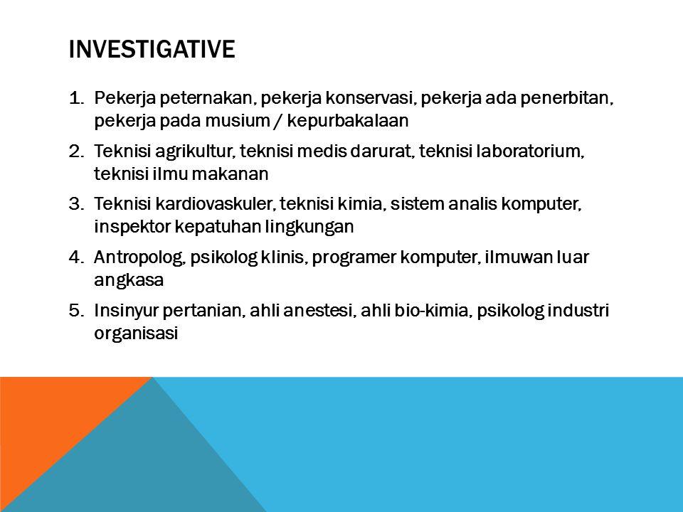 INVESTIGATIVE 1.Pekerja peternakan, pekerja konservasi, pekerja ada penerbitan, pekerja pada musium / kepurbakalaan 2.Teknisi agrikultur, teknisi medi