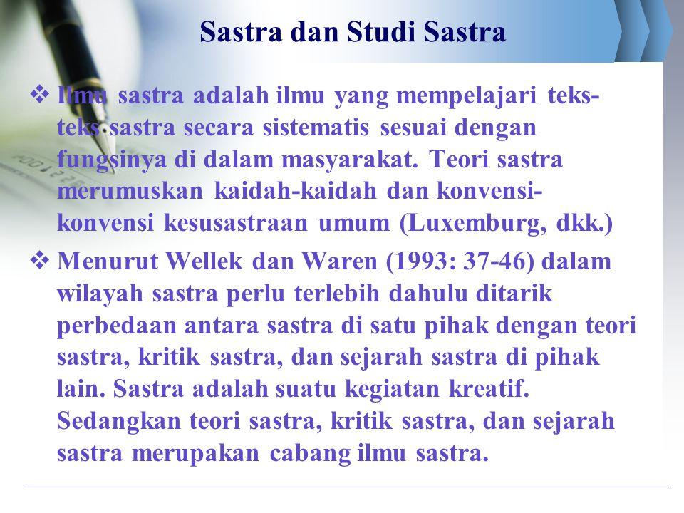 Sastra dan Studi Sastra  Ilmu sastra adalah ilmu yang mempelajari teks- teks sastra secara sistematis sesuai dengan fungsinya di dalam masyarakat. Te