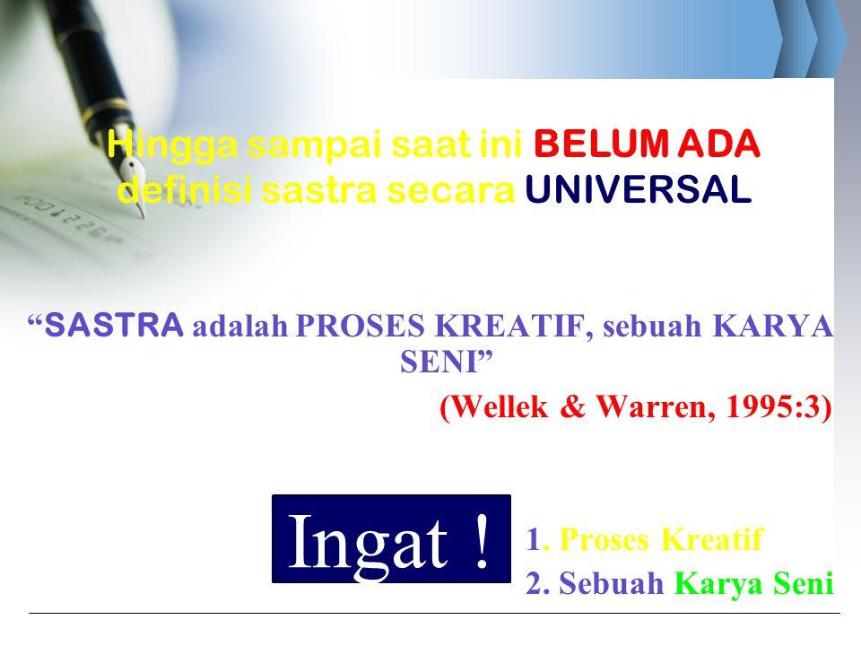 """"""" SASTRA adalah PROSES KREATIF, sebuah KARYA SENI"""" (Wellek & Warren, 1995:3) 1. Proses Kreatif 2. Sebuah Karya Seni Hingga sampai saat ini BELUM ADA d"""