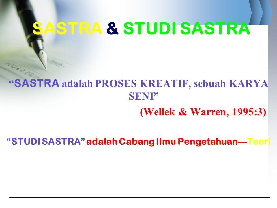 """"""" SASTRA adalah PROSES KREATIF, sebuah KARYA SENI"""" (Wellek & Warren, 1995:3) """"STUDI SASTRA"""" adalah Cabang Ilmu Pengetahuan—Teori SASTRA & STUDI SASTRA"""