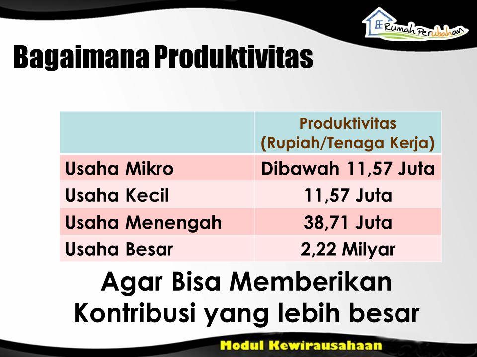 Bagaimana Produktivitas Produktivitas (Rupiah/Tenaga Kerja) Usaha MikroDibawah 11,57 Juta Usaha Kecil11,57 Juta Usaha Menengah38,71 Juta Usaha Besar2,
