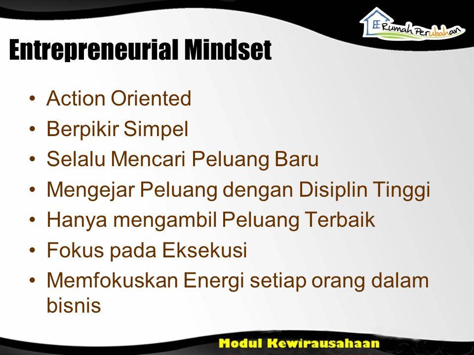 Entrepreneurial Mindset Action Oriented Berpikir Simpel Selalu Mencari Peluang Baru Mengejar Peluang dengan Disiplin Tinggi Hanya mengambil Peluang Terbaik Fokus pada Eksekusi Memfokuskan Energi setiap orang dalam bisnis