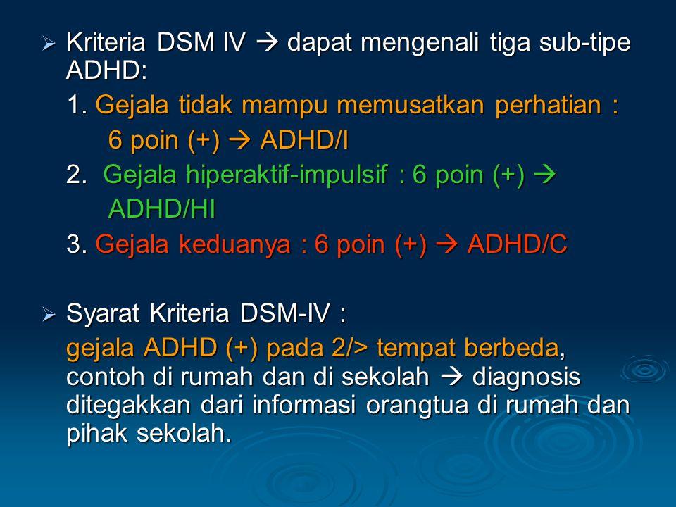  Kriteria DSM IV  dapat mengenali tiga sub-tipe ADHD: 1.