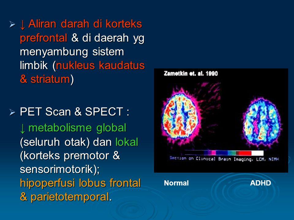  ↓ Aliran darah di korteks prefrontal & di daerah yg menyambung sistem limbik (nukleus kaudatus & striatum)  PET Scan & SPECT : ↓ metabolisme global (seluruh otak) dan lokal (korteks premotor & sensorimotorik); hipoperfusi lobus frontal & parietotemporal.