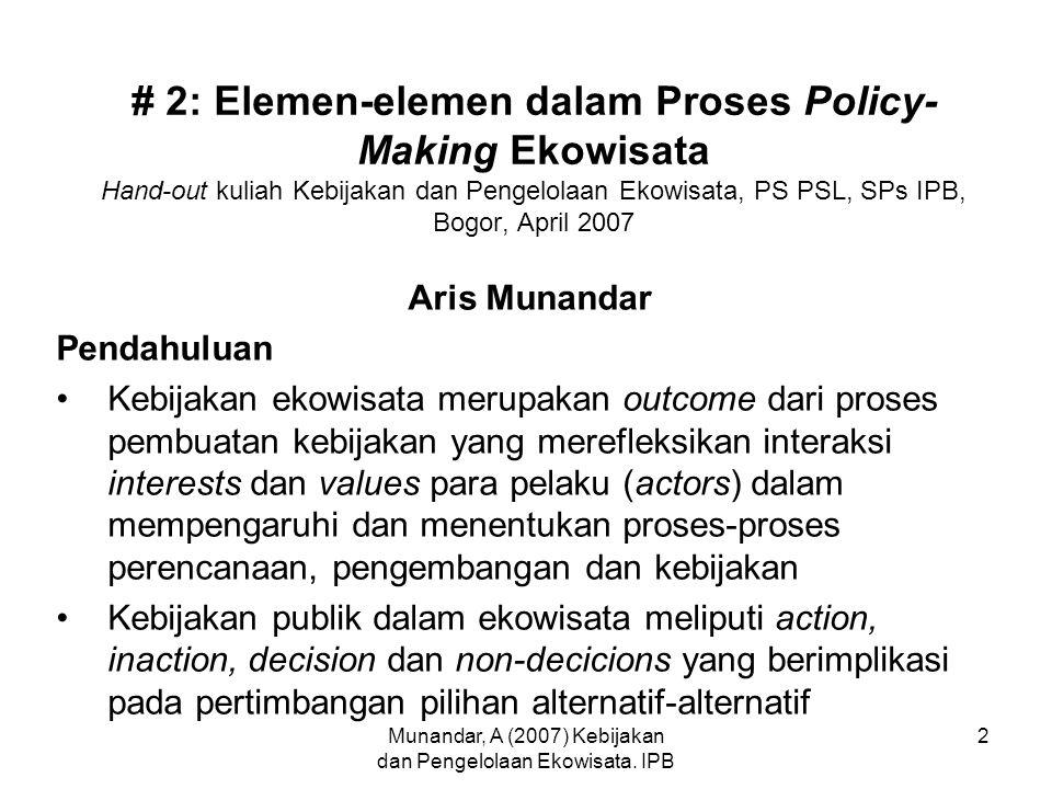 Munandar, A (2007) Kebijakan dan Pengelolaan Ekowisata. IPB 2 # 2: Elemen-elemen dalam Proses Policy- Making Ekowisata Hand-out kuliah Kebijakan dan P