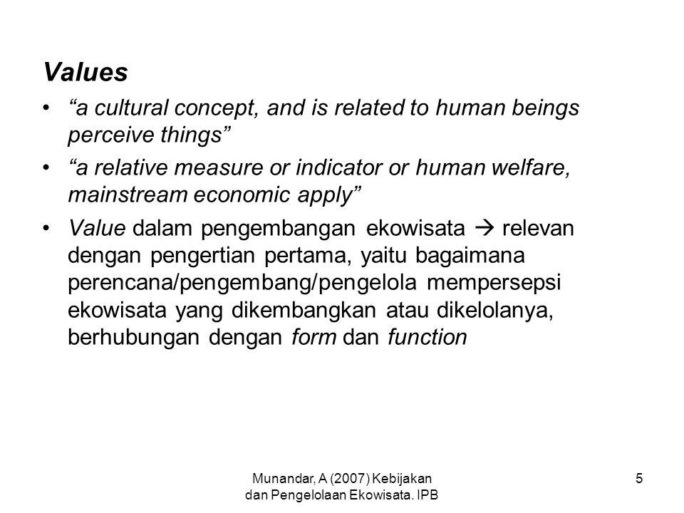 Munandar, A (2007) Kebijakan dan Pengelolaan Ekowisata.
