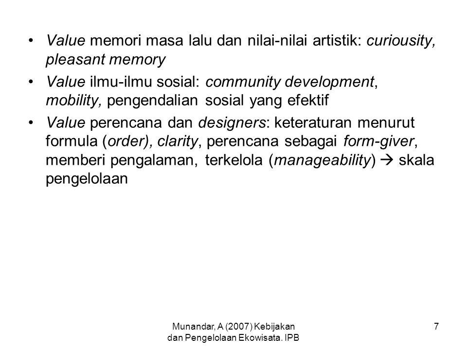 Munandar, A (2007) Kebijakan dan Pengelolaan Ekowisata. IPB 7 Value memori masa lalu dan nilai-nilai artistik: curiousity, pleasant memory Value ilmu-