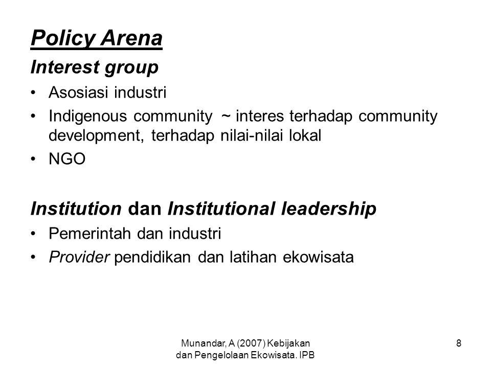 Munandar, A (2007) Kebijakan dan Pengelolaan Ekowisata. IPB 8 Policy Arena Interest group Asosiasi industri Indigenous community ~ interes terhadap co