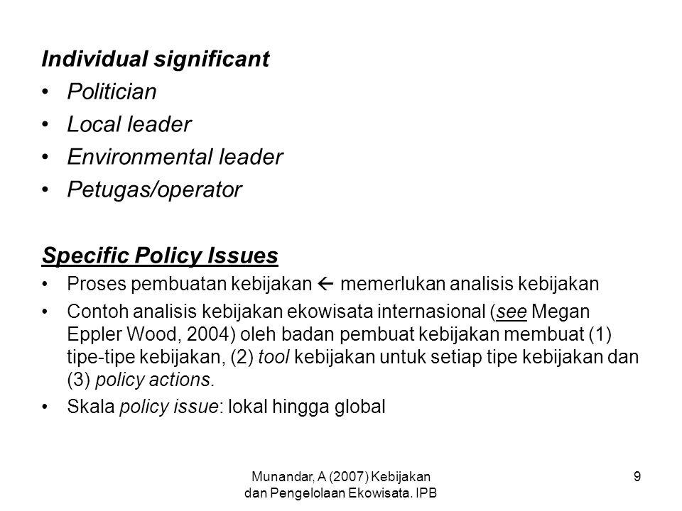 Munandar, A (2007) Kebijakan dan Pengelolaan Ekowisata. IPB 9 Individual significant Politician Local leader Environmental leader Petugas/operator Spe