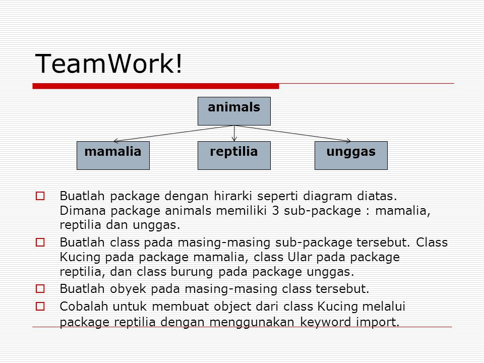 TeamWork.  Buatlah package dengan hirarki seperti diagram diatas.
