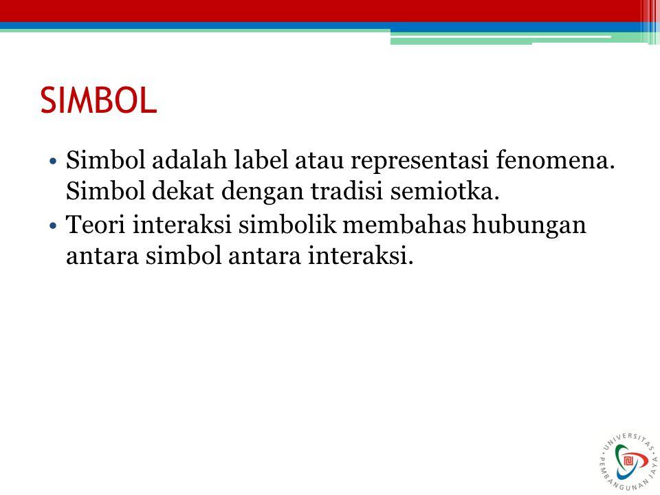 SIMBOL Simbol adalah label atau representasi fenomena. Simbol dekat dengan tradisi semiotka. Teori interaksi simbolik membahas hubungan antara simbol