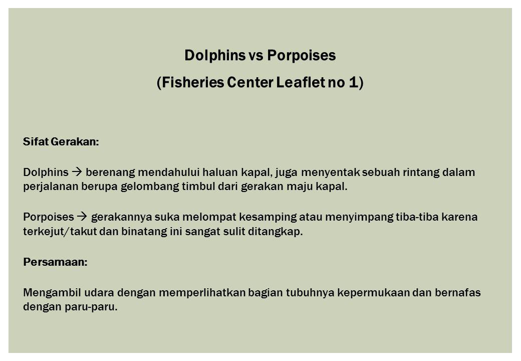 Dolphins vs Porpoises (Fisheries Center Leaflet no 1) Sifat Gerakan: Dolphins  berenang mendahului haluan kapal, juga menyentak sebuah rintang dalam