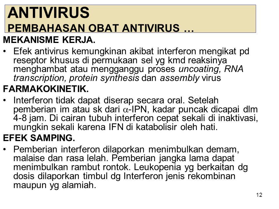 13 ANTIVIRUS PEMBAHASAN OBAT ANTIVIRUS … INDIKASI.